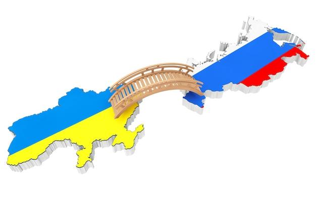Ponte entre a ucrânia e a rússia em um fundo branco