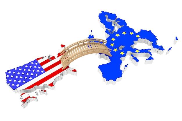 Ponte entre os eua e a europa em um fundo branco