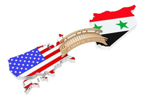 Ponte entre os eua e a síria em um fundo branco
