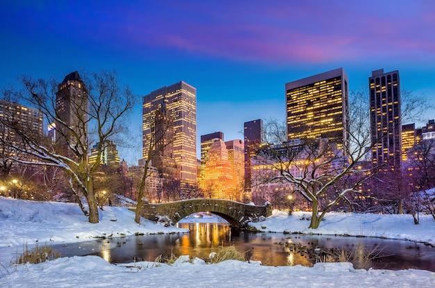 Ponte gapstow no inverno, central park em nova york