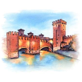 Ponte scaliger de pedra medieval e torre de castelvecchio à noite, verona, norte da itália.