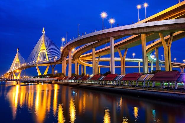 Ponte suspensa de bhumibol na tailândia