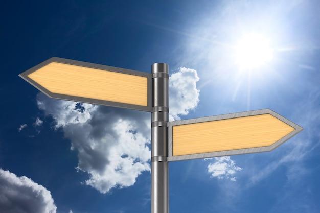 Ponteiro de estrada no fundo do céu. ilustração 3d