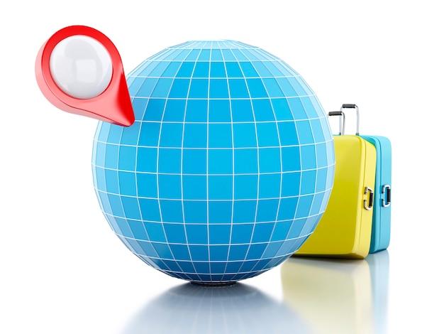 Ponteiro de mapa 3d e globo