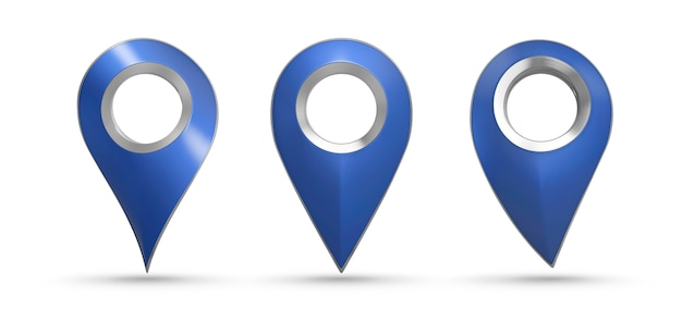 Ponteiro de mapa azul isolado definir ilustração 3d