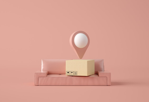 Ponteiro de mapa com caixa de papelão em um sofá