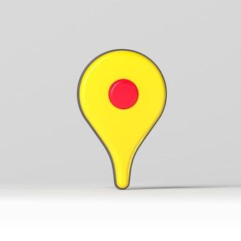 Ponteiro de mapa de ícone 3d realista em superfície cinza