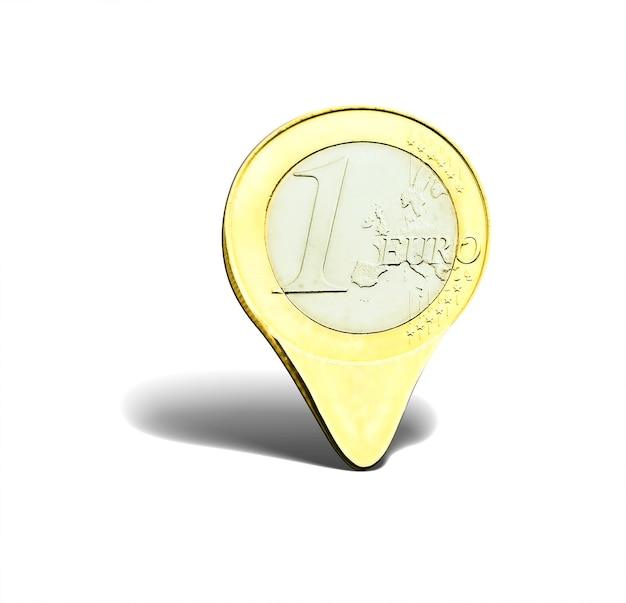 Ponteiro de moeda de um euro isolado no branco