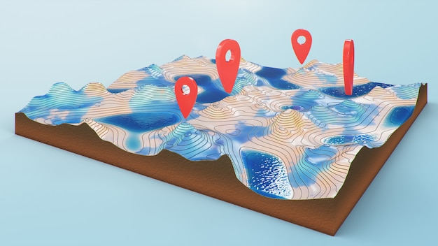 Ponteiros vermelhos, marcadores na navegação no mapa 3d. linhas de contorno em um mapa topográfico