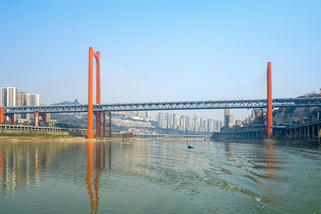 Pontes sobre o rio yangtze e a paisagem da cidade de chongqing na china