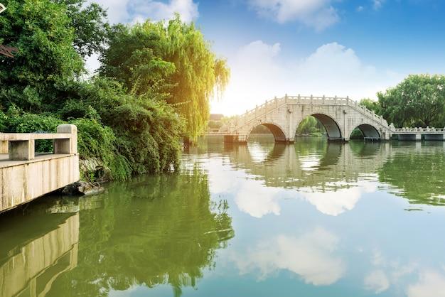 Pontes tradicionais chinesas do edifício.