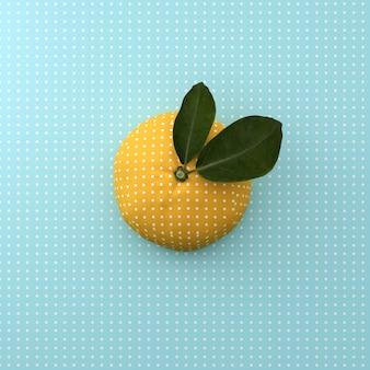 Ponto alaranjado da fruta no fundo do azul do teste padrão do ponto. conceito de comida mínima ideia. vista do topo.
