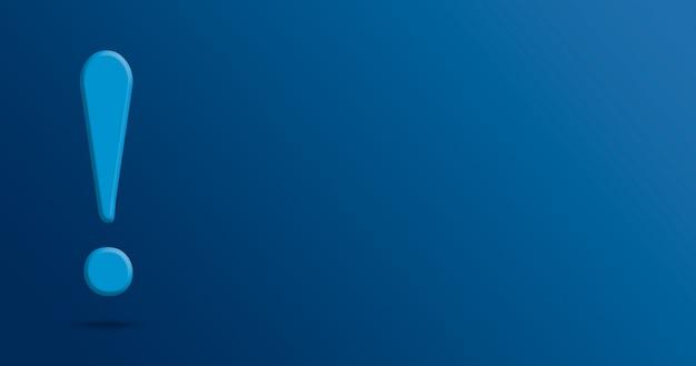 Ponto de exclamação em fundo azul 3d