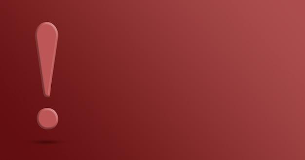 Ponto de exclamação em fundo vermelho 3d