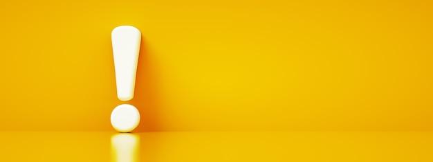 Ponto de exclamação sobre fundo amarelo, renderização em 3d, layout panorâmico