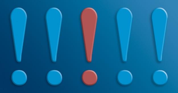 Ponto de exclamação vermelho entre pontos de exclamação azuis 3d