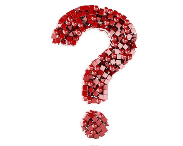 Ponto de interrogação 3d com figuras geométricas vermelhas.