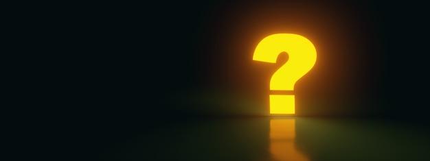 Ponto de interrogação amarelo neon em fundo escuro, renderização 3d, imagem panorâmica