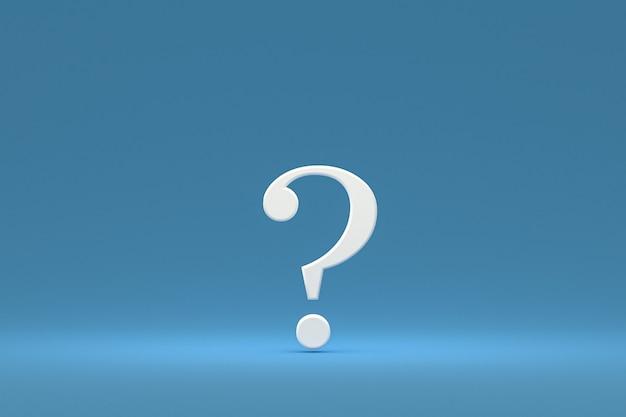 Ponto de interrogação branco sinal mínimo no fundo azul, renderização 3d, espaço mínimo e cópia