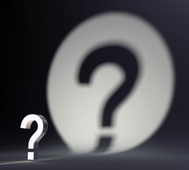Ponto de interrogação e forma de sombra de holofote redondo na parede. filosofia de vida, auto-busca e conceito de dilema.