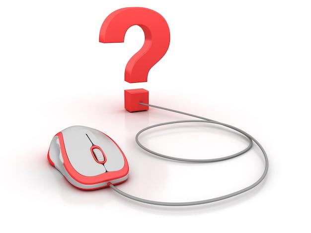 Ponto de interrogação e mouse de computador