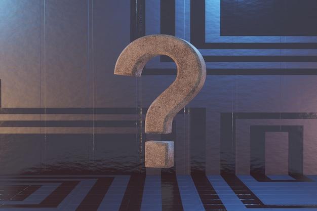 Ponto de interrogação em um plano de fundo de ficção científica