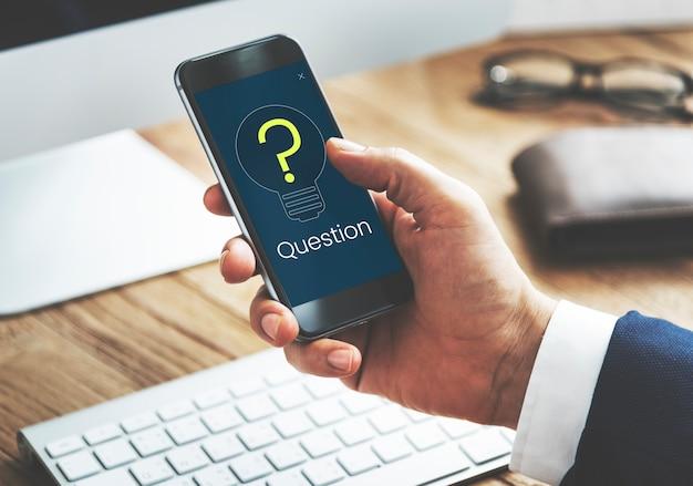 Ponto de interrogação ícone pensando em solução