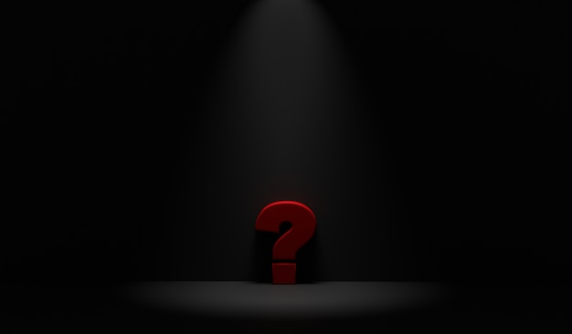 Ponto de interrogação na sala escura