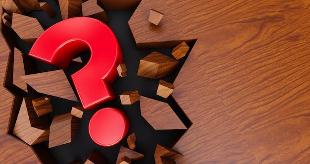 Ponto de interrogação vermelho em um fundo de madeira rachado