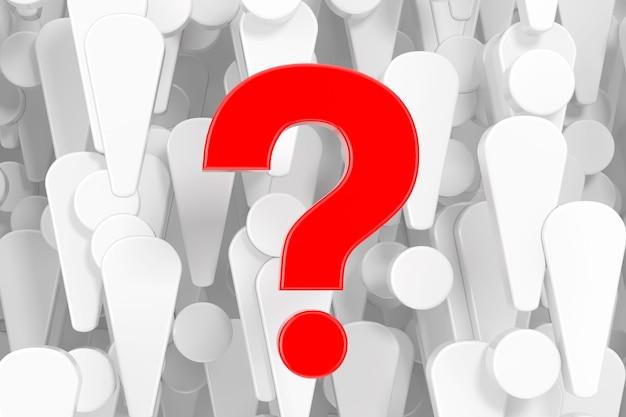 Ponto de interrogação vermelho na frente de muitos pontos de exclamação brancos closeup extrema do fundo. renderização 3d