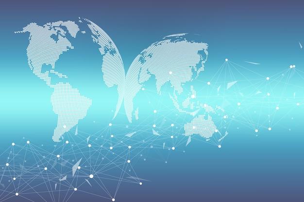 Ponto de mapa mundial com conceito de rede de tecnologia global. visualização de dados digitais. plexo de linhas. comunicação de fundo de big data. ilustração científica.