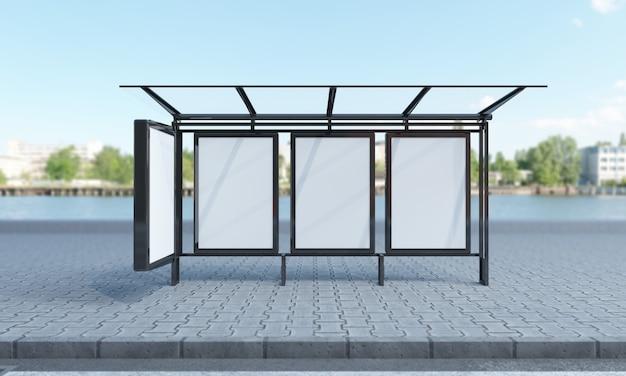 Ponto de ônibus com quadros em branco