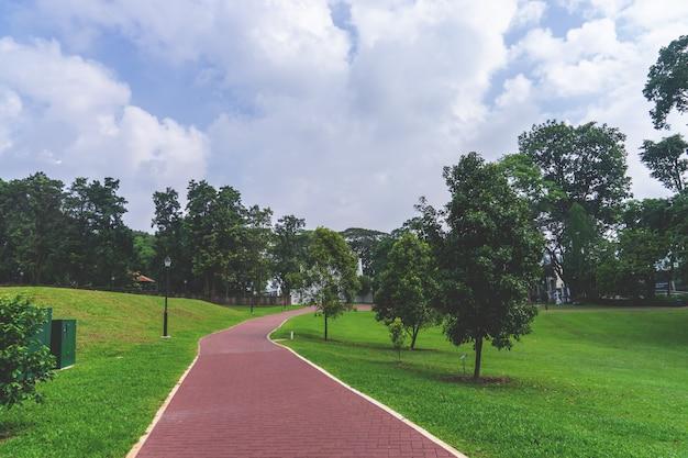 Ponto de viragem de caminho vermelho andando no parque público