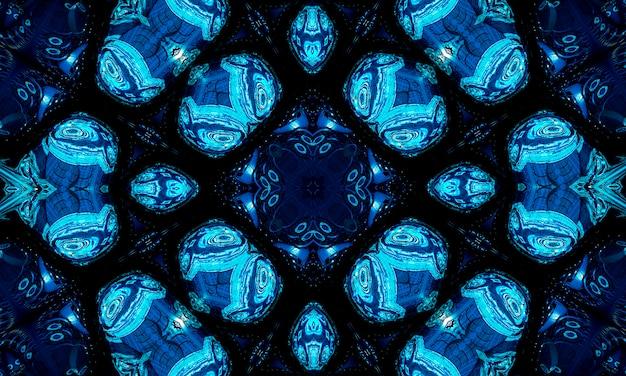 Ponto médio ciano frio brilhante desenho forma arte design. forma de esfera mágica grande difusa no artista moderno. símbolo da bola do boom do poder heterogêneo da cor do aqua da marinha no escuro fond. caleidoscópio do fundo do mar.