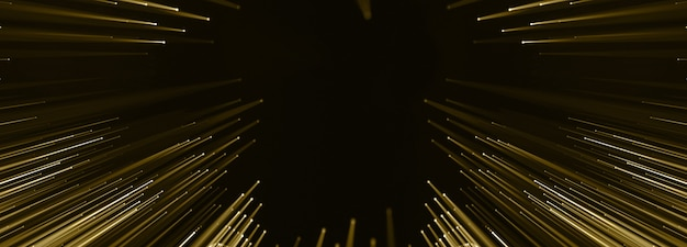 Pontos conectados dourados e fios conduzidos, slide de apresentação de luxo, festa de pôster. renderização 3d.