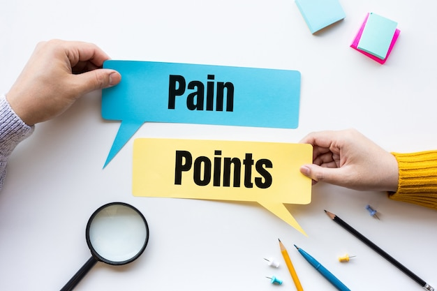 Pontos críticos de negócios e conceitos de marketing. plano e estratégia