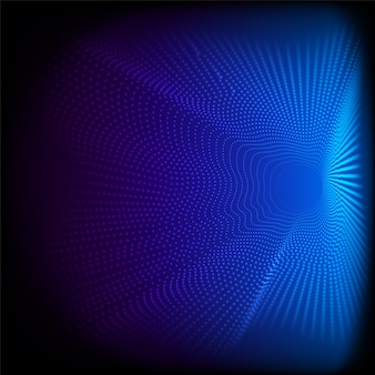 Pontos dinâmicos abstratos ondulam partículas de padrão 3d em fundo azul e textura ilustração de renderização digital de big data