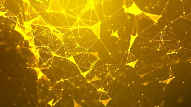 Pontos dourados e linhas de fundo de conexão