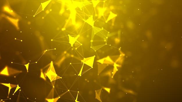 Pontos dourados e linhas de fundo de conexão Foto Premium