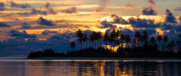 Pôr do sol à beira-mar, silhuetas escuras de palmeiras e incrível céu nublado