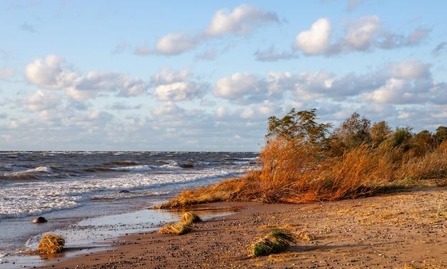 Pôr do sol à beira-mar. vista do mar no mar báltico, letônia