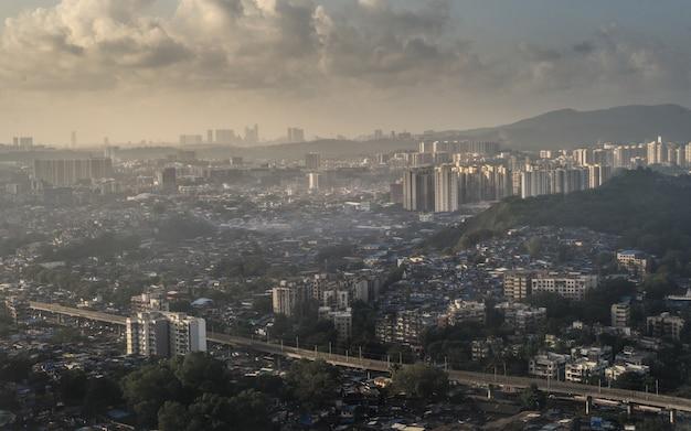 Por do sol da cidade de mumbai