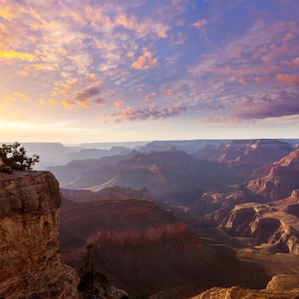 Por do sol do arizona parque nacional do grand canyon yavapai point