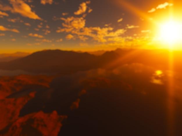 Pôr do sol dramático em montanhas de alta altitude bokeh de fundo Foto Premium