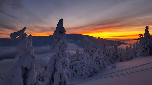 Pôr do sol durante o inverno nos cárpatos