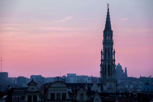 Pôr do sol, em, bruxelas, bélgica