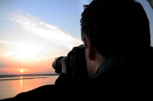 Pôr do sol fotografando