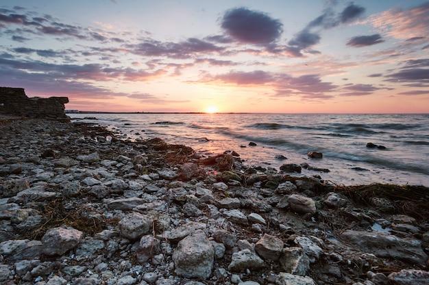 Pôr do sol, perto, akkerman, fortaleza, praia