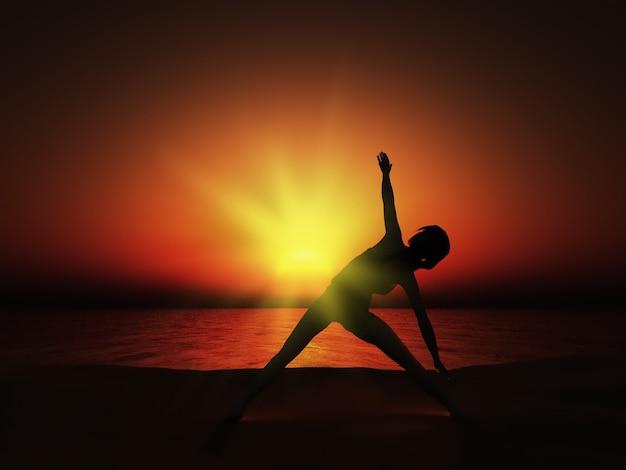 Pôr do sol pose da ioga