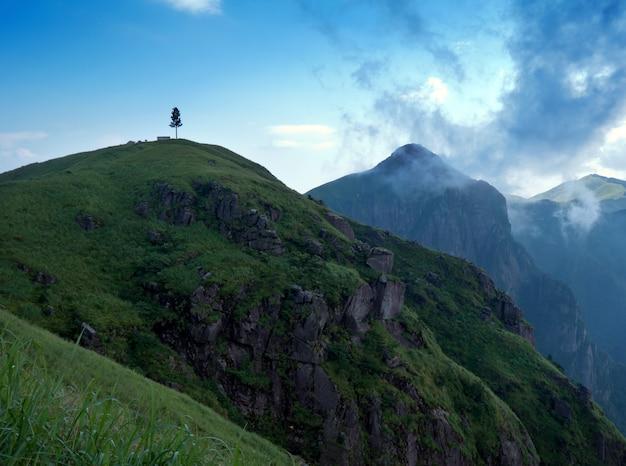 Pôr do sol quando as montanhas